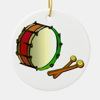 Bass drum with mallets red green ceramic ornament