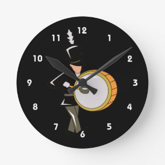 bass drummer marching black abstract.png round clock