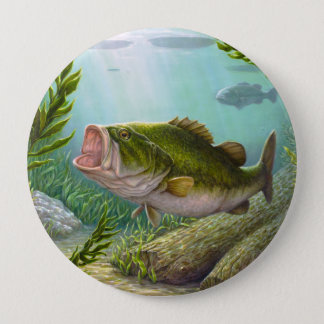 Bass Fish 10 Cm Round Badge