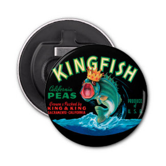 Bass Fish Wearing a Crown on a Black Background Bottle Opener