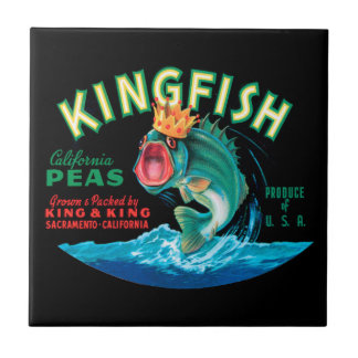 Bass Fish Wearing a Crown on a Black Background Ceramic Tile