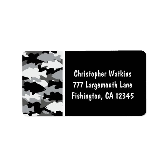 Bass Fishing Black Camo Address Label