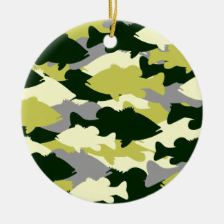 Bass Fishing Green Camo Ceramic Ornament