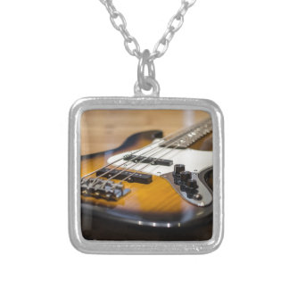 Bass Guitar Bass E Bass Instrument Strings Silver Plated Necklace