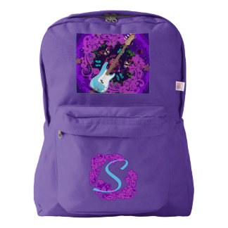 Bass Guitar Floral Swirl Custom Purple Backpack