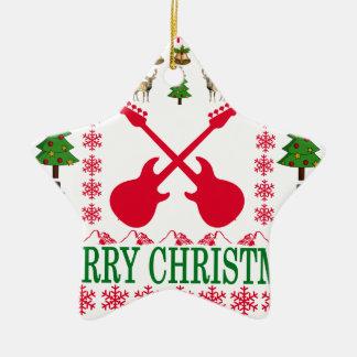 BASS GUITAR MERRY CHRISTMAS . CERAMIC ORNAMENT