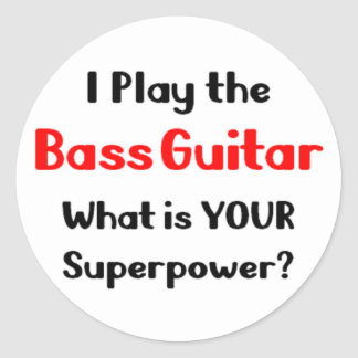 Bass guitar player classic round sticker