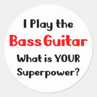 Bass guitar player round sticker