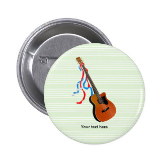 Bass Guitar Red White Blue Streamers 6 Cm Round Badge