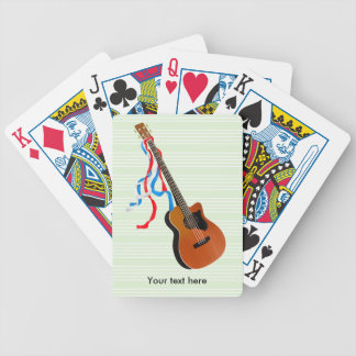Bass Guitar Red White Blue Streamers Poker Deck