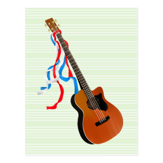 Bass Guitar Red White Blue Streamers Postcard