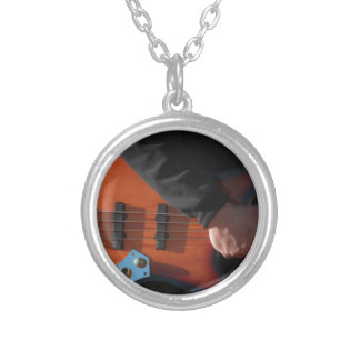 Bass Guitar Silver Plated Necklace