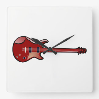 Bass guitar square wall clock