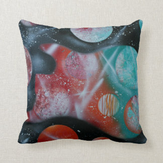 bass guitar teal planets spacepainting cushion