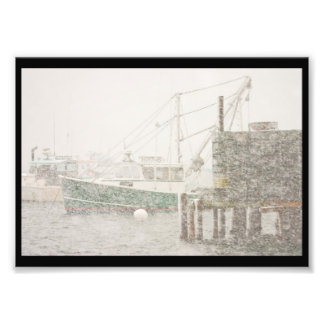 Bass Harbor in Heavy Snowstorm, Coast of Maine Photographic Print