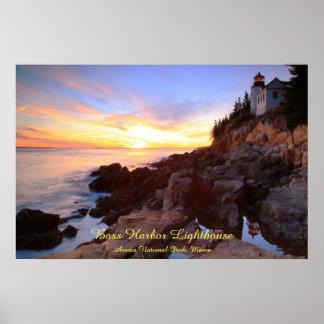 Bass Harbor Lighthouse Sunset Seascape Poster