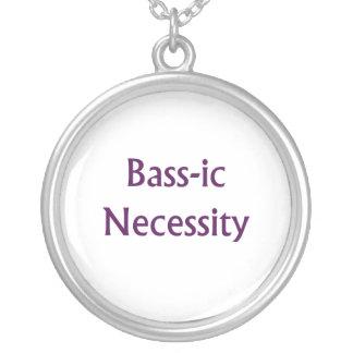 Bass-Ic necessity Purple text Bass Player Design Round Pendant Necklace