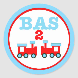 Bass is Two with Trains Classic Round Sticker