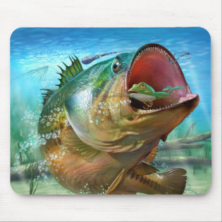 BASS ON A LURE MOUSEPAD FOR COMPUTER