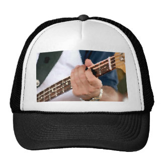 bass painterly player hand on neck male photograph hats