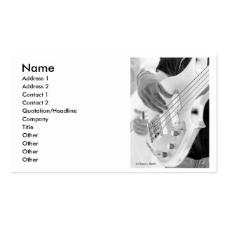 Bass player , bass and hand, negative image business card templates