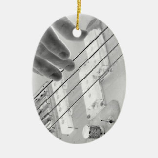 Bass player , bass and hand, negative image ceramic ornament