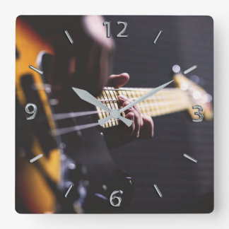 Bass Player Bass Guitar Music Square Wall Clock