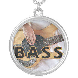 bass player text four string bass hands round pendant necklace