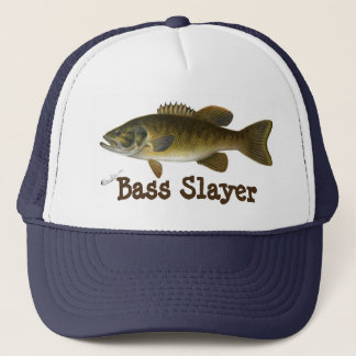 """Bass Slayer"" with Smallmouth Bass Painting Trucker Hat"