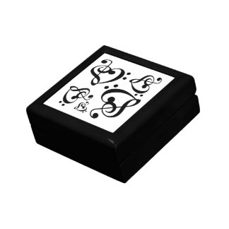 Bass Treble Clef Heart Music Pattern Tile Box Small Square Gift Box