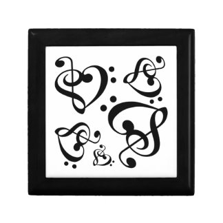 Bass Treble Clef Heart Music Pattern Tile Box Small Square Gift Box