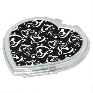 Bass Treble Clef Hearts Music Notes Pattern Makeup Mirror