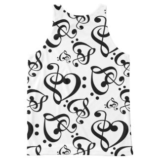 Bass Treble Clef Hearts Music Notes Pattern Shirt All-Over Print Tank Top