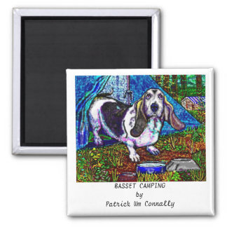 BASSET CAMPING SQUARE MAGNET
