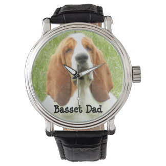 Basset Dad Watch with Leather Strap