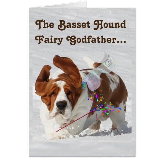 """Basset Fairy Godfather"" on Funny Birthday Card"