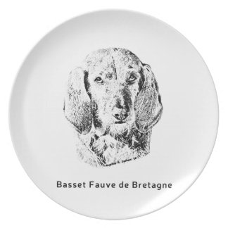 Basset Fauve de Bretagne Drawing Dinner Plates