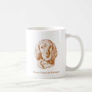 Basset Fauve de Bretagne Drawing in Red Coffee Mug