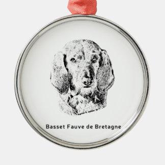 Basset Fauve de Bretagne Drawing Metal Ornament