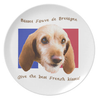 Basset Fauve deBretagne Give Best French Kisses Plates