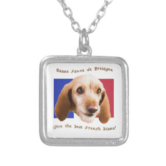Basset Fauve deBretagne Give Best French Kisses Silver Plated Necklace