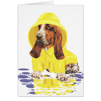 Basset Hound April Showers Greeting Cards