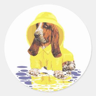 Basset Hound April Showers Classic Round Sticker