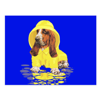 Basset Hound April Showers Postcard