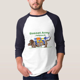Basset Hound Army - Jetpack, Pop Art by Jon David T-Shirt