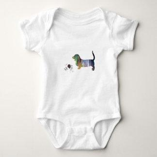 Basset hound art baby bodysuit