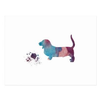 Basset hound art postcard
