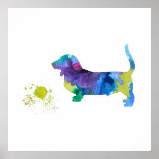 Basset hound art poster