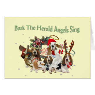Basset Hound  Bark Herald Angels Sing Card