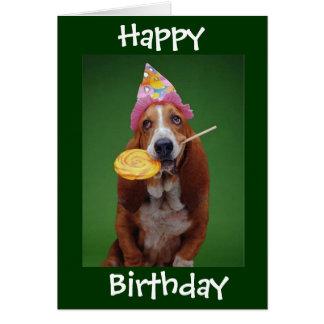 Basset Hound Birthday Lollipop Greeting Card